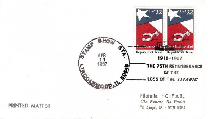 VASUL TITANIC 1912-1987 REMEMORARE A 75 DE ANI DE LA SCUFUNDARE COVER USA 1987