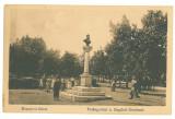4884 - RAMNICU-SARAT, Buzau, statue, park - old postcard, CENSOR - used - 1917