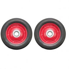 Set 2 roti pentru carucior, cu rulment, cauciuc brut, 7 x 1.5, negru/rosu, YTGT-00025X2