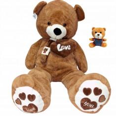 Ursulet de Plus Urias cu Inimioare LOVE YOU, Inaltime 160cm, Culoare Maro + Ursulet Mic Cadou