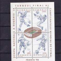 ROMANIA 1998 LP 1455 C.M. DE FOTBAL FRANTA  - BLOC DANTELAT    MNH