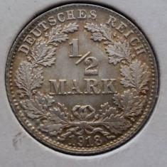 (A439) MONEDA DIN ARGINT GERMANIA - 1/2 MARK 1918, LIT. D, EROARE MATRITA SPARTA