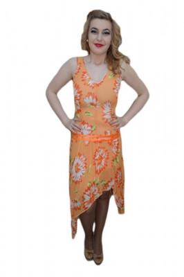 Rochie moderna, portocalie, material cu aspect de voal cu flori foto