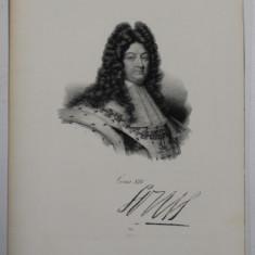 F.S. DELPECH ( 1778 - 1825 ) - LOUIS XIV , LITOGRAFIE MONOCROMA , CCA. 1820