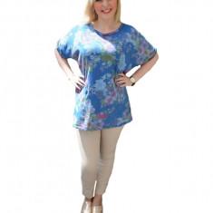 Tricou lung bleumarin cu imprimeu de flori si maneci largi