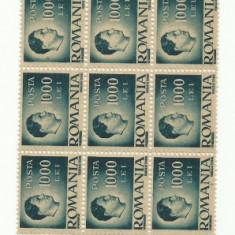ROMANIA MNH 1945 - Uzuale Mihai I - fragment coala 1000 L - 27 timbre