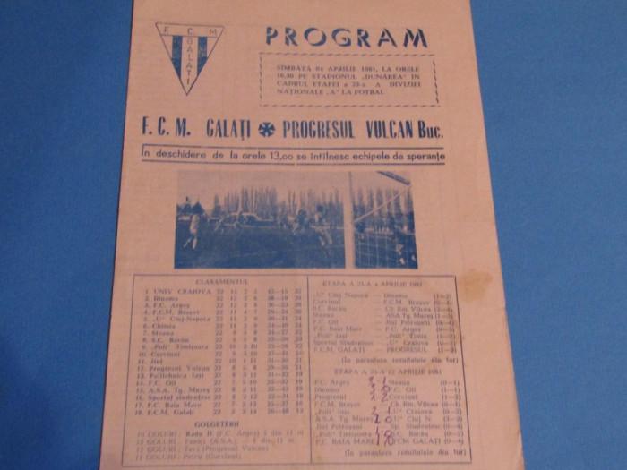 Program meci fotbal FCM GALATI - PROGRESUL VULCAN BUCURESTI (04.04.1981)