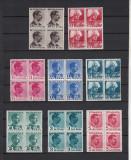 ROMANIA 1940 LP 140 CAROL II CULORI SCHIMBATE BLOCURI DE 4 TIMBRE  MNH