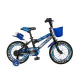 Bicicleta pentru copii Rich Baby, 16 inch, frane C-Brake, roti ajutatoare cu LED, maxim 50 kg, 4-6 ani, Negru/Albastru, General