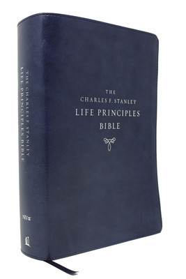 Niv, Charles F. Stanley Life Principles Bible, 2nd Edition, Leathersoft, Blue, Comfort Print: Holy Bible, New International Version foto