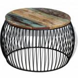 VidaXL Masă de cafea rotundă, lemn reciclat de esență tare, 68x43 cm