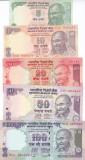 Bancnota India 5 - 100 Rupii 2009-10 - P94A-98 UNC ( set x5 )