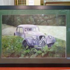 Tablou pictat manual pe panza in ulei, Masina A-420, Natura, Realism
