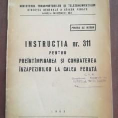 Instructia nr. 311 pentru preintimpinarea si combaterea inzapezirilor la calea ferata