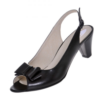 Sandale dama, SandAli, piele naturala, toc gros, negru, Daniela foto