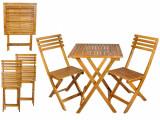 Set Masa cu 2 Scaune Pliabile din Lemn pentru Curte, Gradina, Terasa sau Balcon