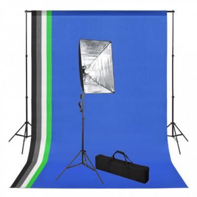 Kit studio foto cu fundal și lumină cu softbox foto