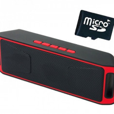 Boxa Portabila Bluetooth iUni DF02, Radio, Red + Card 4GB Cadou