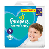 Scutece Pampers Active Baby Nr 6, Giant Pack - 56 buc.