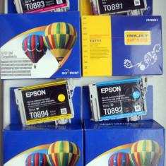 Set 4 cartuse originale EPSON T0891, T0892, T0893, T0894 (goale, pt. refill), Multicolor, Original