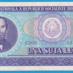 (6) BANCNOTA ROMANIA - 100 LEI 1966, PORTRET NICOLAE BALCESCU. STARE FOARTE BUNA