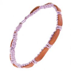 Fâșie din piele maro-caramel și șnur împletit violet