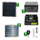 Gard electric Animale Sălbatice 6,6J putere cu Sârmă 1000m și Panou Solar