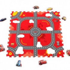 Covor puzzle din spuma Soft Cars 3 Modular Race 9 piese, Knorrtoys