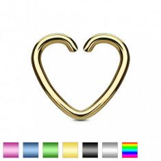 Piercing fals din titan - o inimă colorată - Culoare Piercing: Ametist