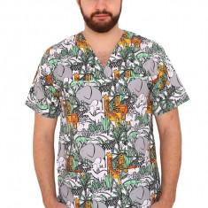 Bluza imprimata Jungle alb, unisex, cu anchior in V si trei buzunare aplicate