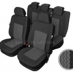 Set huse scaun model Perun pentru Dacia Nova, culoare Negru, set huse auto Fata + Spate