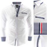 Camasa pentru barbati, alb, slim fit, elastica, casual, cu guler - calabria