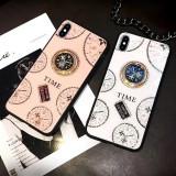 Husa din Silicon cu pietricele și inel rotativ model TIME pt iPhone XS Max