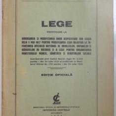 LEGE PRIVITOARE LA ABROGAREA SI MODIFICAREA UNOR DISPOZITIUNI DIN LEGEA DE LA 5 MAI 1927, 1934