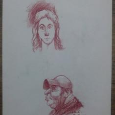 Doua mici portrete// creion colorat pe hartie, Vasile Olac