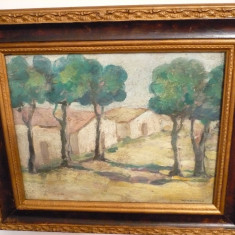 tablou vechi-Peisaj cu case-Paul Miracovici