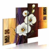 Tablou pictat manual - Orhidee alba - 4 piese - 120 x 100 cm, Artgeist