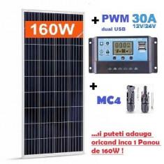 Panouri solare fotovoltaice 165W NOI -12V + regulator controller 30A GRATUIT