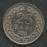 ROMANIA   RPR   25  BANI  1955   [1]   livrare in cartonas, Cupru-Nichel