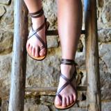 Sandale Dama Model Traveller Piele Naturala Violet - Curele Complet Ajustabile, 35, 37 - 41, Sandaleromane