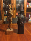 Set 2 piese vechi superbe DON QUIJOTE de la MANCHA (statuie și sticlă de vin)