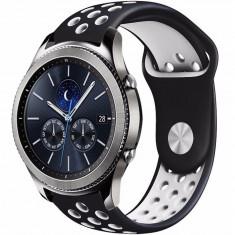 Curea ceas Smartwatch Samsung Gear S2, iUni 20 mm Silicon Sport Black-White