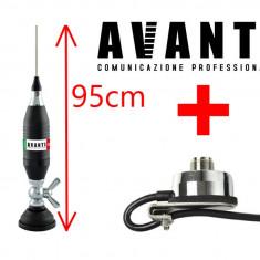 Set Prindere Fluture Haion Antena Radio CB Avanti Volo 95cm cu adaptor PL si Suport Portbagaj Avanti cu mufa PL