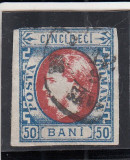 1869 a LP 29  CAROL I CU FAVORITI  50 BANI  ALBASTRU SI ROSU  POINCON L. PASCANU, Stampilat
