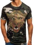 T-shirt pentru bărbat cu imprimeu camuflaj-kaki Bolf 181073
