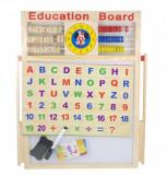 Tabla din lemn pentru desen (5in1) - calculator, numaratoare, ceas, marker, creta