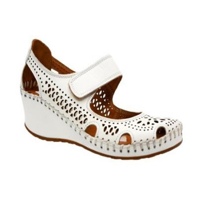 Pantof alb de zi cu talpa plina, din piele naturala cu decupaje foto