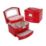 Caseta bijuterii Crocodile Style Red