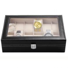 Cutie caseta eleganta depozitare cu compartimente pentru 12 ceasuri, negru