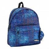 Ghiozdan de scoala + bandana, model imprimeu electro, albastru, 35x17x42 cm